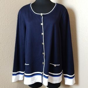Karen Scott Button Front Sweater Navy 3X